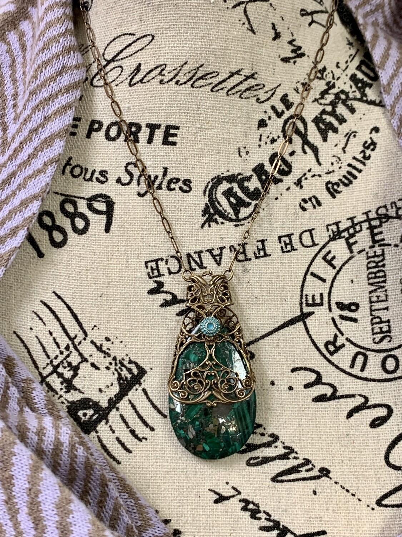 Brass Filigree w/Azurite/Malachite/Pyrite Necklace