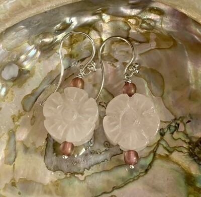 Carved Rose Quartz and SS Earrings