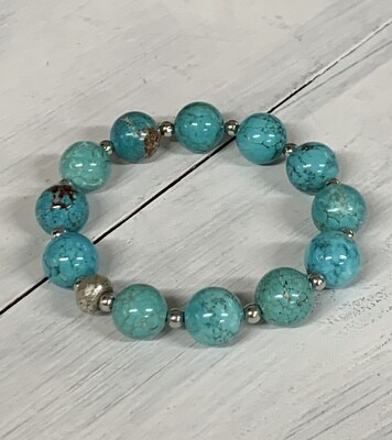 Turquoise, Silver Plate and Glass Bracelet