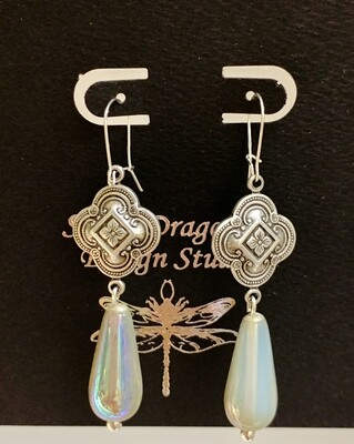 SP Medallion w/Opal Glass Teardrop Earring