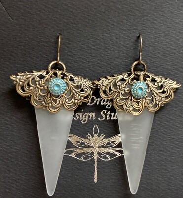 Brass & Glass Art Deco Earrings
