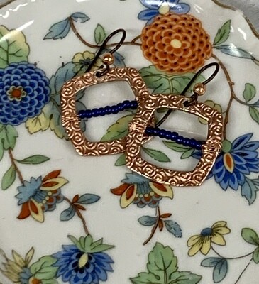 Copper Squares w/Cobalt Glass Earrings