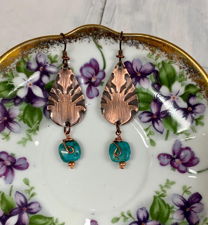 Copper Teardrop w/Turquoise Earring