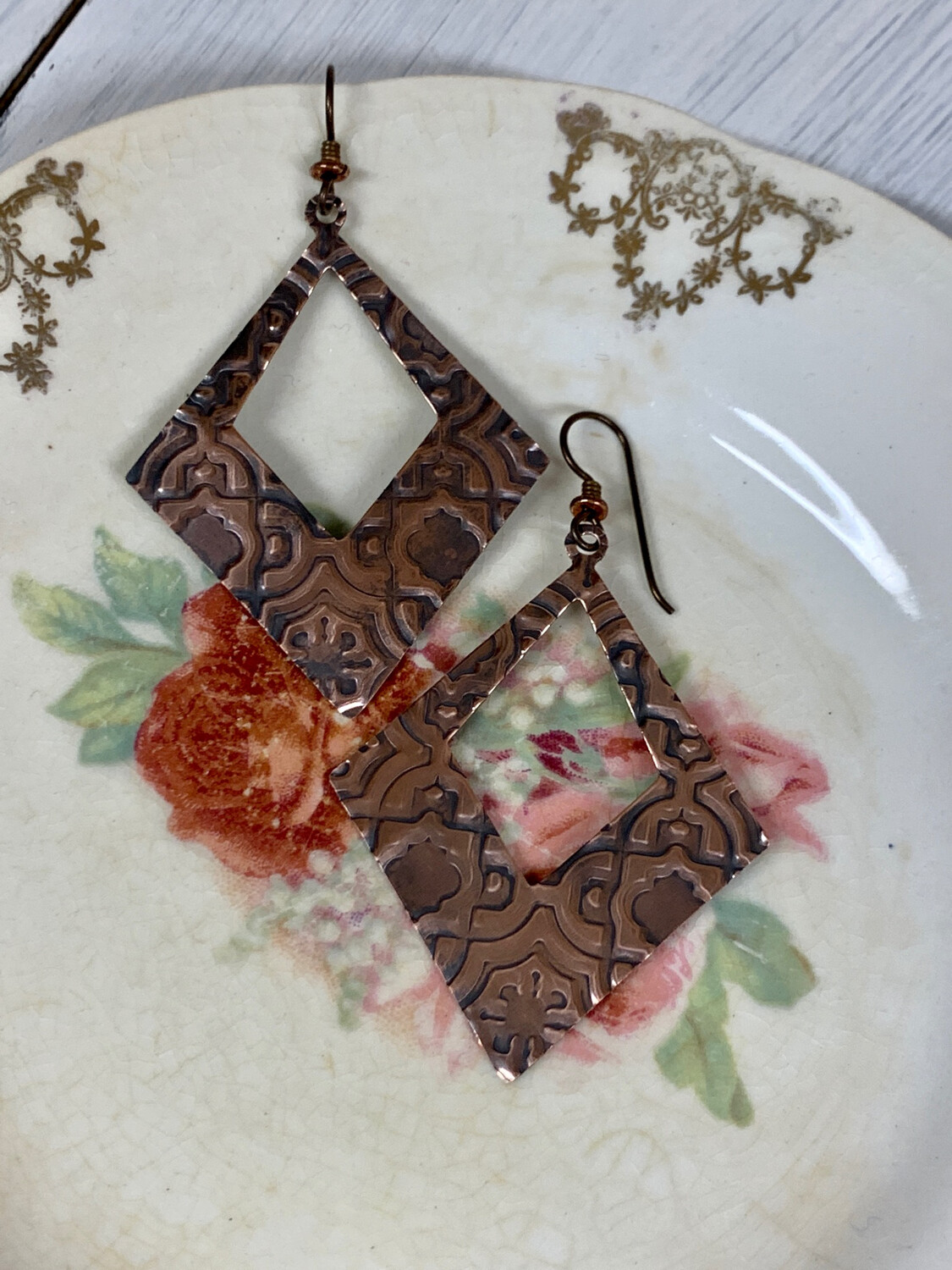 Large Embossed Copper Dangle Earring