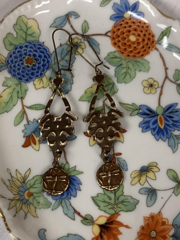 Brass Embossed Dragonfly Earrings