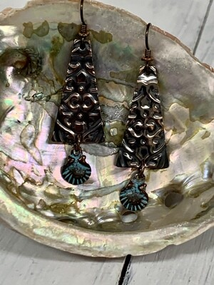 Embossed Copper w/Shell Earrings