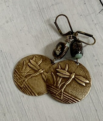 Brass Dragonfly & Jasper Earrings