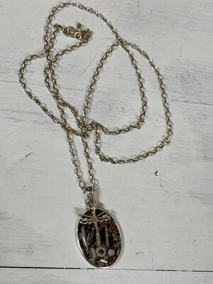 Sterling & Unakite Dragonfly Necklace