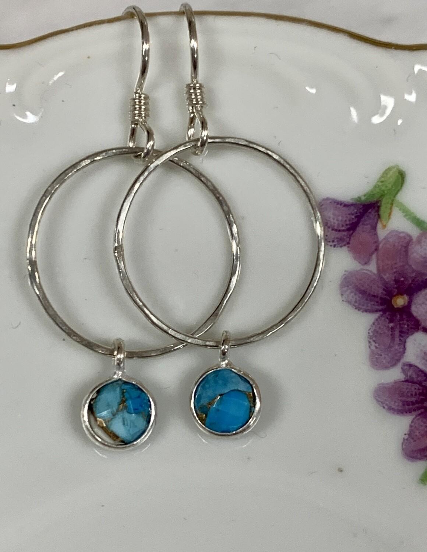 SS Hoop w/turq dangle Earrings
