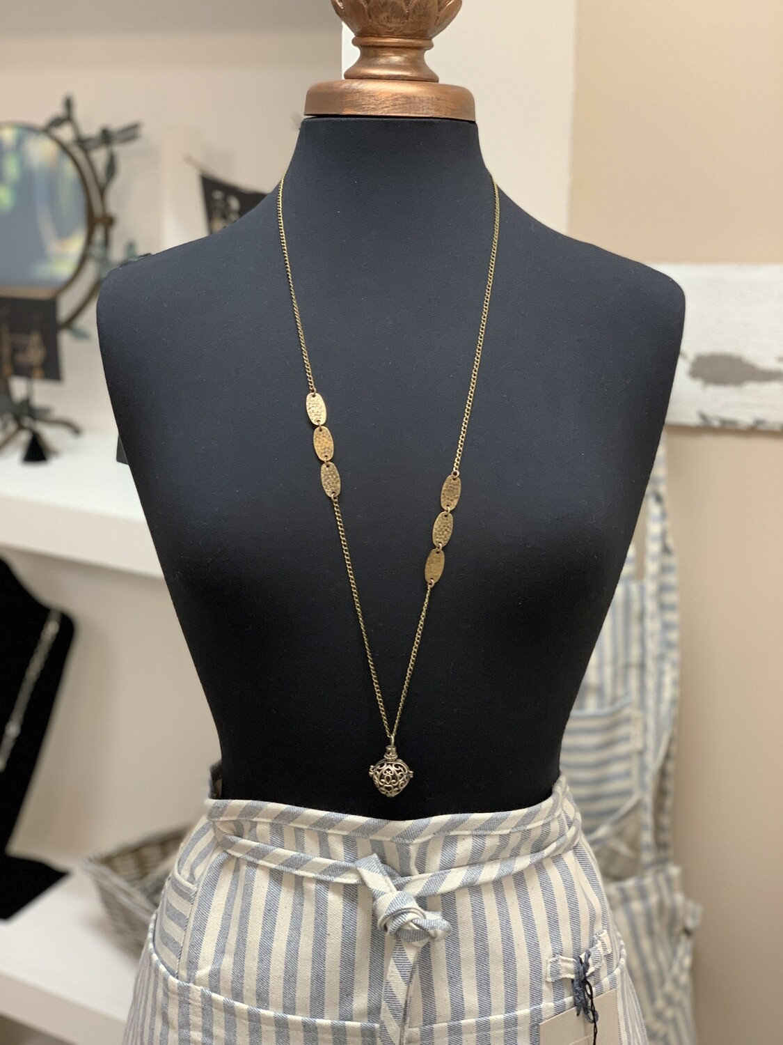 """Brass Heart Diffuser Necklace 38"""""""