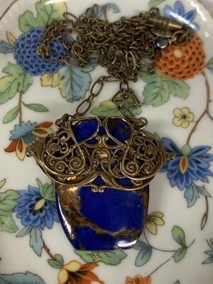 Brass Filigree w/Lapis Bronzite Necklace