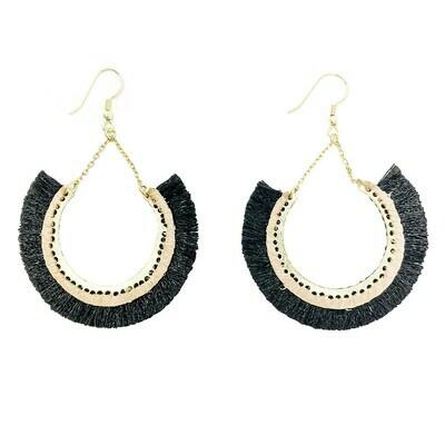 Contoured Black Fringe Earrings