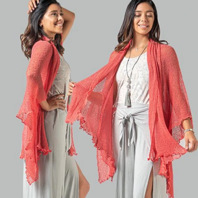 Soul Warmer Woven Cardigan - Coral