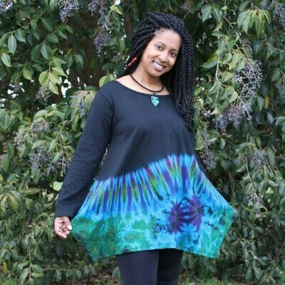 Long Sleeve Cotton Top - Turquoise