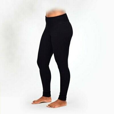 Maggie's Organic Cotton Black Fleece Leggings - large