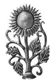 Mini Sunflower Cut Metal Wall Art