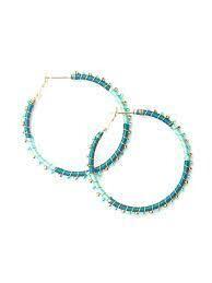 Threaded Hoop Teal Earrings