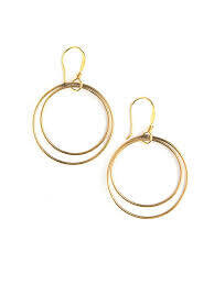 Double Moon Gold Earrings