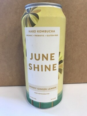 Beer / Single / Juneshine Hard Kombucha, Honey Ginger Lemon, 16 oz