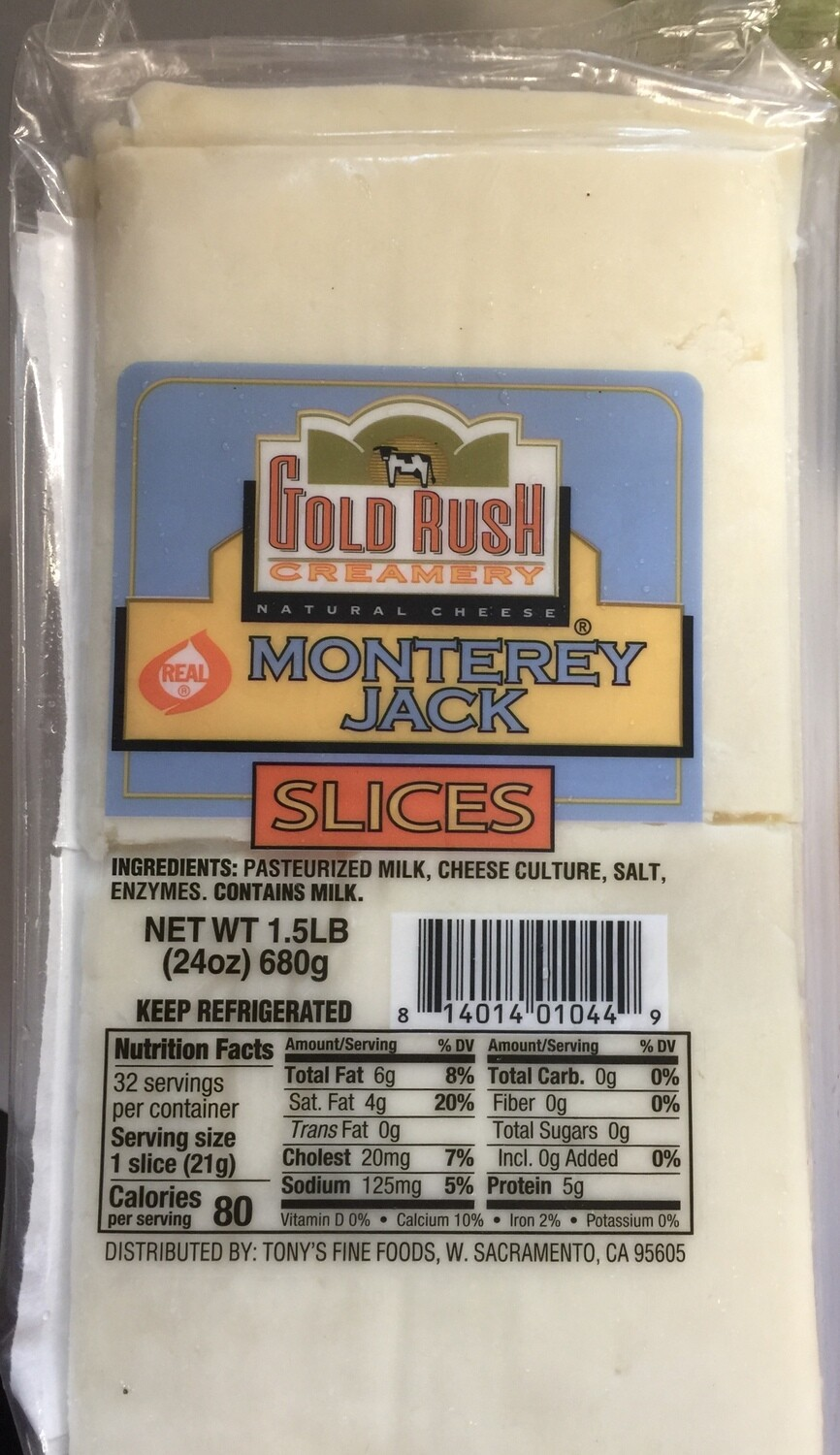 Deli / Cheese / Gold Rush Creamery Sliced Monterey Jack 1.5lb