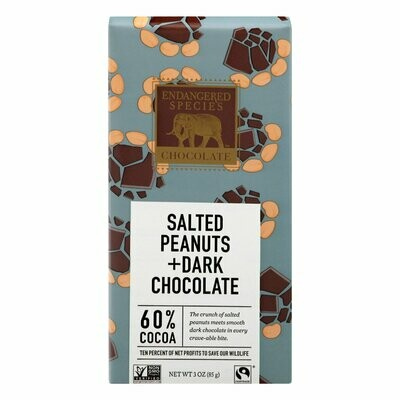 Candy / Chocolate  / Endangered Species bar Dark Chocolate with Salted Peanuts