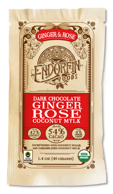 Candy / Chocolate  / Endorfin Ginger Rose Dark Chocolate Bar, 1.4 oz