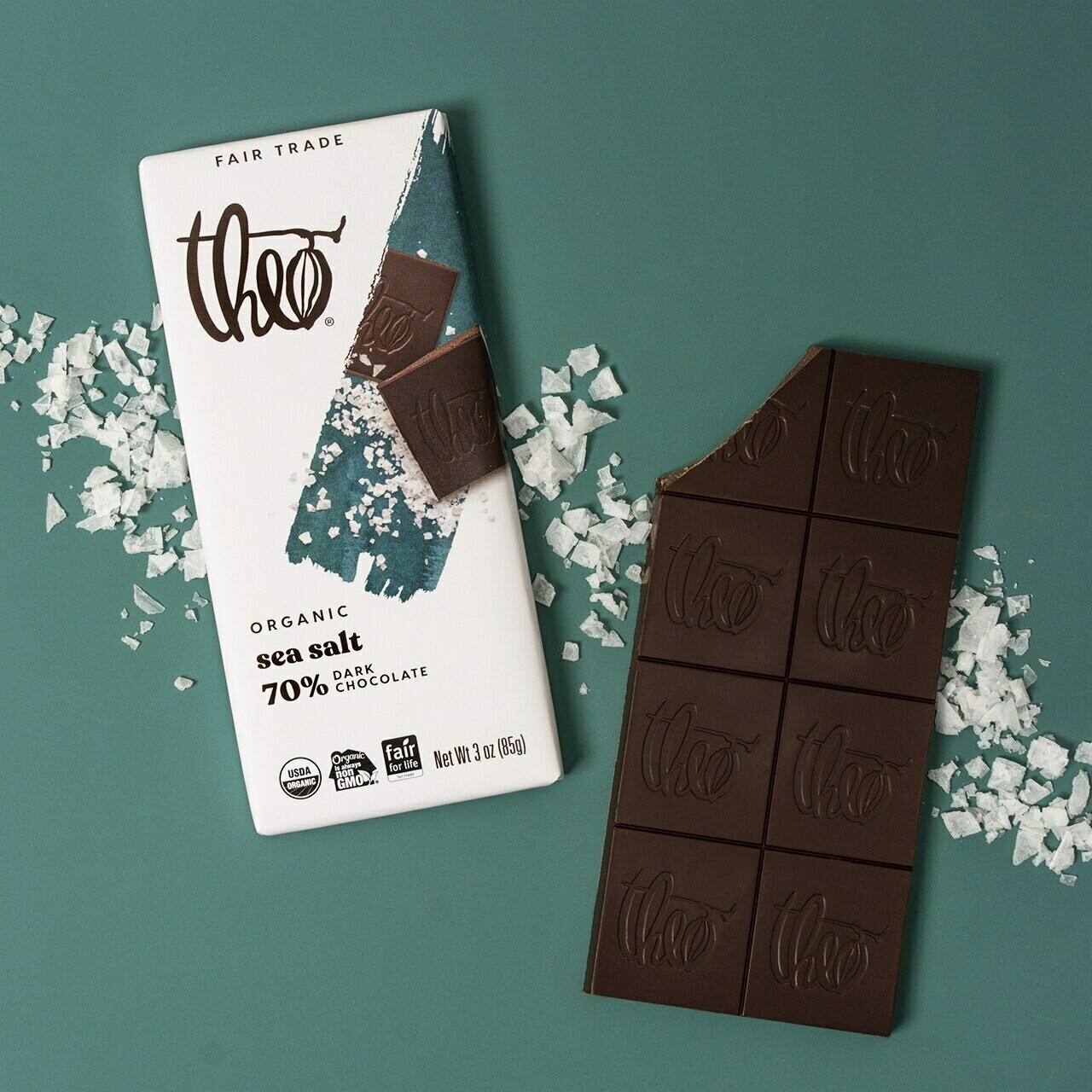 Candy / Chocolate / Theo Dark Chocolate Sea Salt, 3 oz.