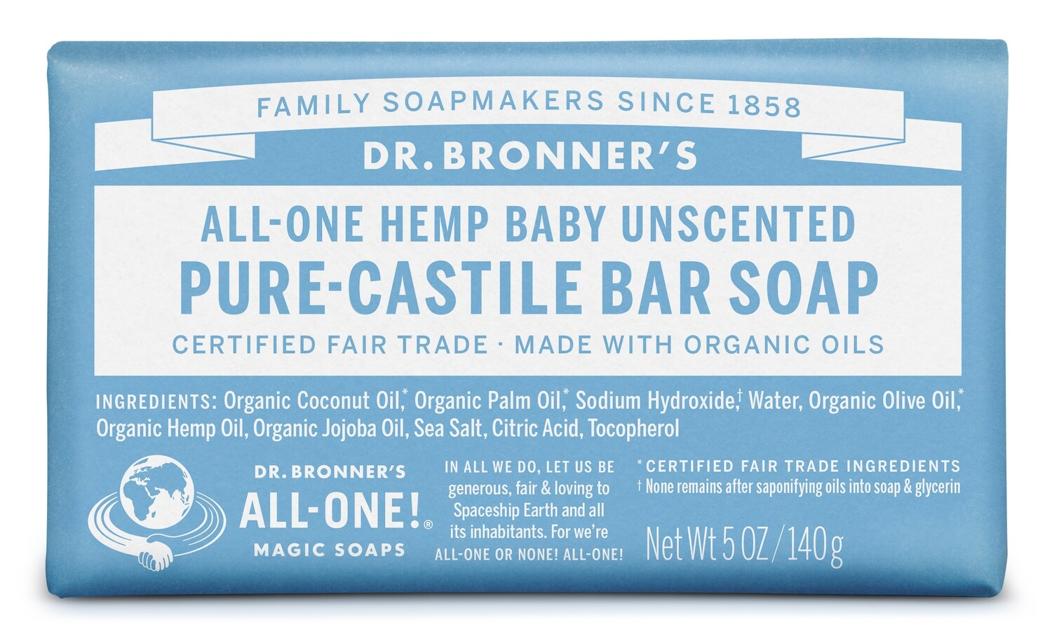 Health and Beauty / Soap / Dr. Bronner Bar Unscented, 5 oz.