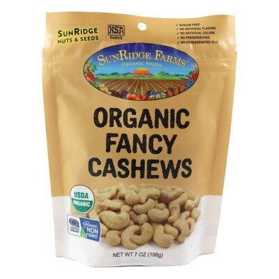 Bulk / Nuts / Whole Organic Raw Cashews, 7 oz.
