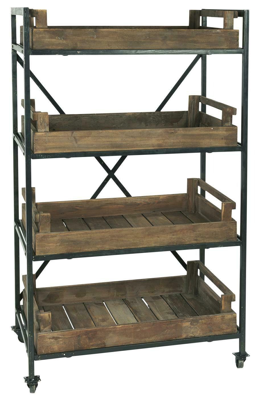 Etagère en métal sur roulettes, 4 plateaux en bois - SOLDEE