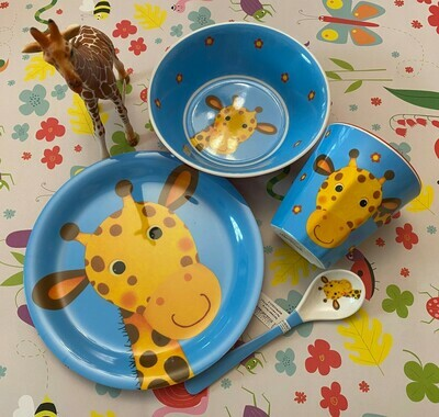 Geschirrset Giraffe mit Schleichgiraffe
