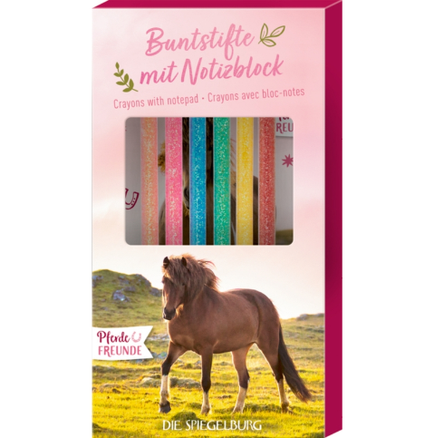 Buntstifte mit Notizblock Pferdefreunde