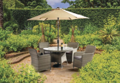 Tuscany 120cm Round 4 Seat Set with Parasol & base