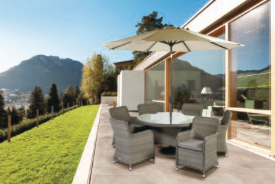 Tuscany 140cm Round 6 Seat Set with Parasol & base