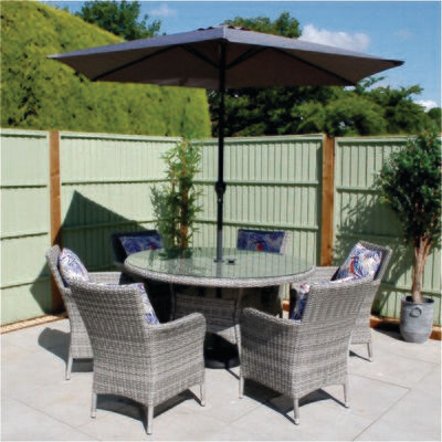 Monaco Stone 6 Seat Dining Set with 2.7m Parasol