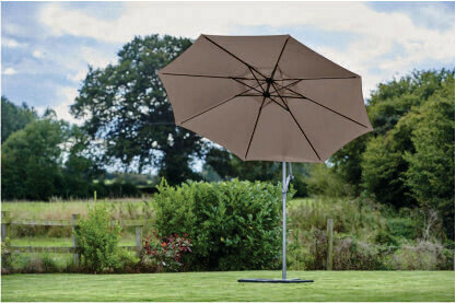 RIVIERA 3M FREE ARM PARASOL Taupe with bronze pole BUY ONLINE NOW TO SECURE YOUR PURCHASE. THIS PRODUCT WAS IN HIGH DEMAND LAST YEAR. AVAILABLE FOR DELIVERY OF COLLECTION FROM APRIL 2021