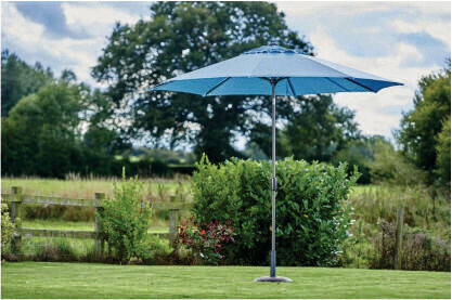 Riviera Parasol Duck Egg Blue (Grey Pole) - 2.5m  BUY ONLINE NOW TO SECURE YOUR PURCHASE. THIS PRODUCT WAS IN HIGH DEMAND LAST YEAR. AVAILABLE FOR DELIVERY OF COLLECTION FROM APRIL 2021