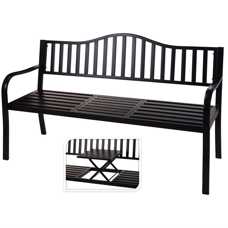 Metal Garden Bench With Gold Down Table
