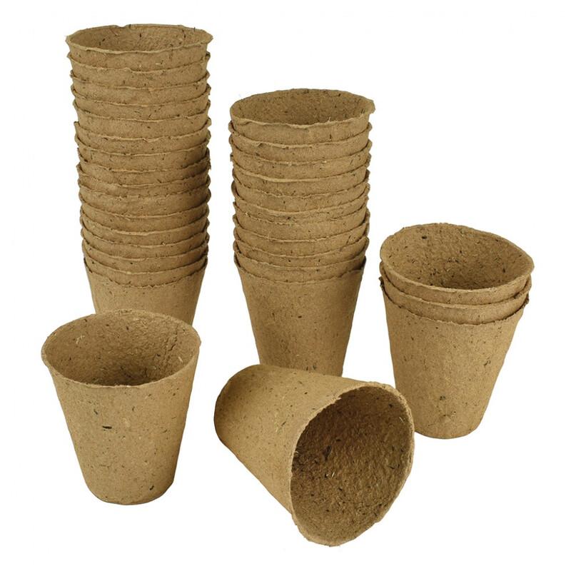 Gardman 8cm Round Fibre Pots (48 Pack)