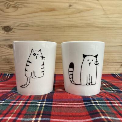 Set di due Bicchieri con Gatto