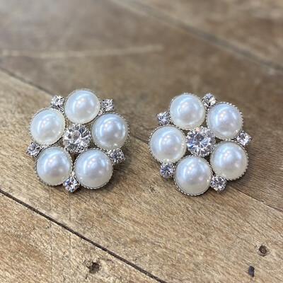 Bottone gioiello Fiore Perle e Strass