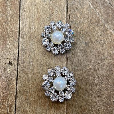 Bottone gioiello Fiore Strass e Perla centrale