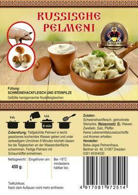 Pelmeni mit Schweinhackfleisch und Steinpilzen