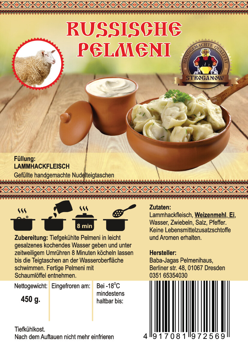Pelmeni mit Lammhackfleisch