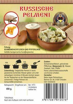 Pelmeni mit Schweinhackfleisch und Pfefferlingen