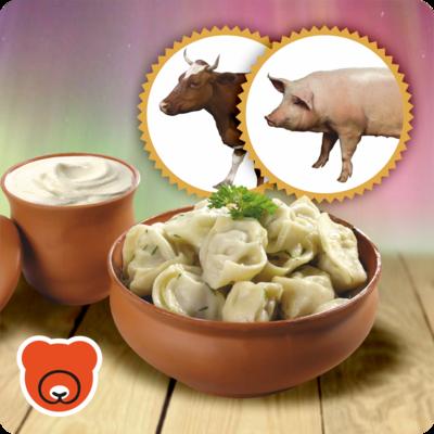Pelmeni mit Schweinhackfleisch und Rindhackfleisch