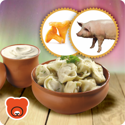 Pelmeni mit Schweinehackfleisch und Pfifferlingen