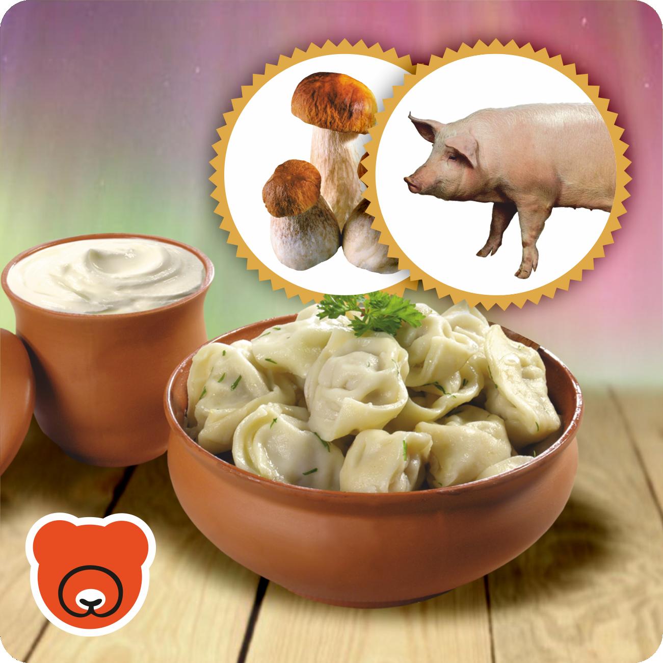 Pelmeni mit Schweinehackfleisch und Steinpilze