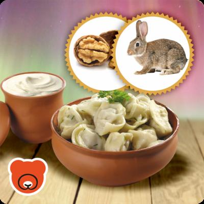 Pelmeni mit Kaninchenfleisch und Walnuss.