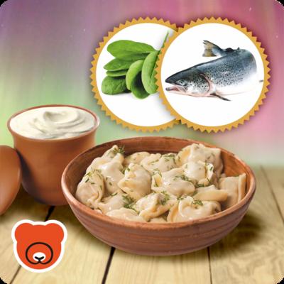 Wareniki mit Spinat und Lachs